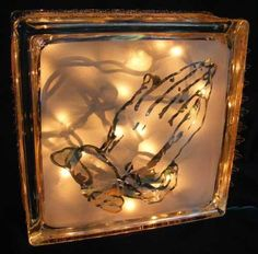 Celtic cross with praying hands glass block light Decorative Glass Blocks, Lighted Glass Blocks, Glass Cube, Glass Boxes, Plastic Bottle Crafts, Wine Bottle Crafts, Brick Crafts, Light Bulb Crafts, Glass Block Crafts