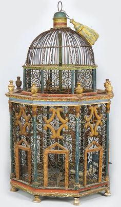 painted wood and wire birdcage Antique Bird Cages, The Caged Bird Sings, Vintage Birds, Vintage Clocks, French Vintage, Bird Aviary, Bird Boxes, Chef D Oeuvre, Beautiful Birds