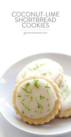 Coconut Lime Shortbread Cookies -- full of fresh lime, coconut, and buttery flavors, and topped with a light lime glaze. One of my all-time favorite cookie recipes! Spice Cookies, Yummy Cookies, Incredible Recipes, Great Recipes, Favorite Cookie Recipe, Favorite Recipes, Cookie Recipes, Dessert Recipes, Cookie Ideas