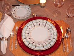 """Le Grenadiers by Bernardaud......my favorite """"formal"""" Christmas China......with a red glass charger from Sur La Table......perfect for any Christmas table setting......IMG_4129"""