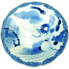 Antique ko-Imari Edo Sometsuke Large Platter with Unryu 雲 龍 Dragon and Pearl from The Many Faces of Japan on Ruby Lane