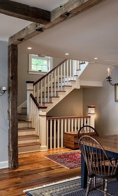 staircase, wood beams, wood floors . Good for our indoor basement entrance