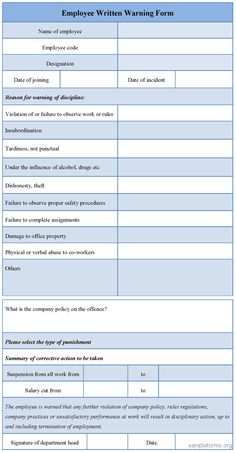 Written Warning Templates Sample Template Free Download Editable Employee  Form For
