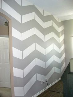 Chevron wall tutorial. I have a feeling this will be happening in the new apartment.
