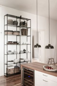 oversized open shelves in the kitchen