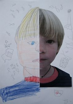 dee*construction: art for kids - symmetry + portraits *Idea for take a photocopy and fold down middle. Kids can draw the other side of their face, then switch folder side over and draw other side. Mount with photo. Kindergarten Art, Preschool Art, Lessons For Kids, Art Lessons, Arte Elemental, Classe D'art, Ecole Art, Cool Art Projects, Art Classroom