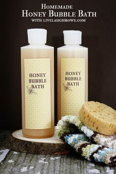 Homemade Bubble Bath - Live Laugh Rowe  I'm going to try this with unscented Dr. Bronner's as the soap base.
