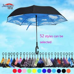 52 Styles Windproof Double Folding reverse umbrella Rain Protection Car Reverse Umbrellas with C-Hook Hands For Car
