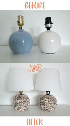 crochet lamps before and after