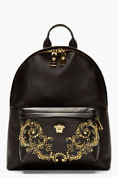 Versace Black Grain Leather Multiple Gold Stud Backpack for men | SSENSE