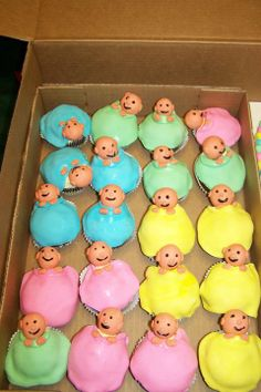 Hand made cup cakes for a baby shower