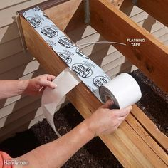 Avoid Deck Rot with Flashing Tape - Pressure-treated lumber that stays wet will eventually rot. Flashing tape keeps water from getting trapped between doubled-up joists. If you're resurfacing an existing deck frame, tape over any joists that have a lot of holes from the previous nails or screws. Buy black tape if you can find it; shiny silver and white tapes may be noticeable between the gaps in the decking. The tape shown will be covered by the perimeter deck board. #deckframing