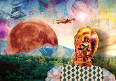 illustration by Julie Cadeau STAR WARS C3PO MOON COLLAGE CUT PAPER COUPAGE DESSIN PHOTOSHOP