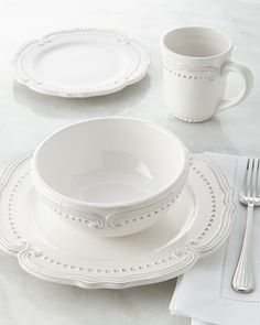 Shop Bianca Victoria Dinnerware Service from Jay Import Co at Horchow, where you'll find new lower shipping on hundreds of home furnishings and gifts. Earthenware, Stoneware, Kitchenware, Tableware, White Dishes, Dinnerware Sets, White Dinnerware, Dinner Sets, Cereal Bowls