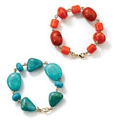 """Avon: Fiji Bliss Bracelet $9.99. Beads in faux coral or faux turquoise. 8"""" L with 1 3/4"""" extender."""