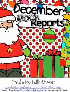 Adorable December Book Reports Freebie!!!!