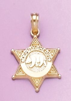 Amazon.com: 14k Gold Profession Necklace Charm Pendant, Police Deputy Sheriff Badge With Bea: Million Charms: Jewelry