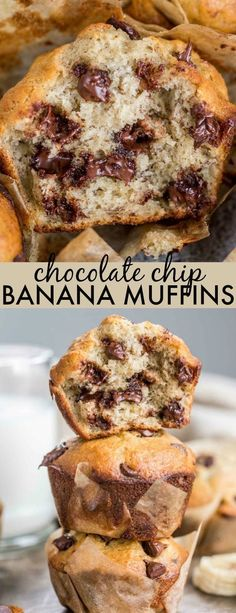 Banana Chocolate Chip Muffins – Valentina's Corner Easy Homemade Banana Chocolate Chip Muffins. Soft and fluffy banana bread muffins with chocolate chip. The muffins are so airy and just melt in your mouth! Banana Chocolate Chip Muffins, Chocolate Chip Recipes, Banana Bread Recipes, Easy Banana Bread Muffins, Banana Muffin Recipe Easy, Sour Cream Muffins, Chocolate Chip Bread, Breakfast Muffins, Breakfast Recipes