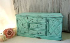 Aqua Vintage Jewelry Box Distressed Teal Blue by WillowsEndCottage