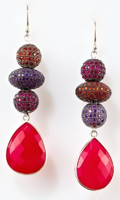 Long dangly pink and orangenatural stone set in di MargoCreations, $225.00