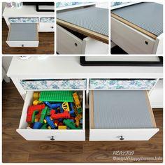 収納式のレゴテーブルを作ってみました!場所を取らないのに、とても使いやすい自信作!作り方の詳細をブログにて公開中です。 http://happybanana.info/?p=6618