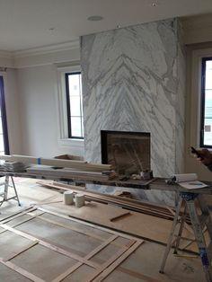 Image result for stone slab corner fireplace