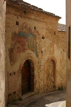 Trevi,  Frescoed building, Umbria, Italy