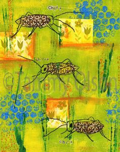 Paint wash background, print follage, collage insect body, black pen insect.