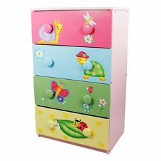 """Toys """"R"""" Us - Fantasy Fields - Magic Garden 4 Drawer Cabinet with 8 Handles Arte Country, Pintura Country, Kids Bedroom Furniture, Painted Furniture, Bedroom Ideas, Children Furniture, Girls Bedroom, Bedroom Decor, Peg Wall"""