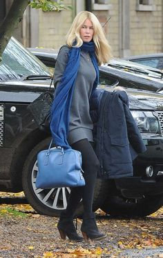 Out and about: German supermodel Claudia Schiffer was spotted alone in London on Sunday Claudia Schiffer, School Fashion, 90s Fashion, Fasion, Mom Outfits, Winter Outfits, Versace, Original Supermodels, Ways To Wear A Scarf