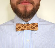 Wood Bow Tie Pin - Damask Pattern Laser Cut Wood Bow Tie