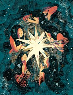 The Art Of Animation, Victo Ngai - http://victo-ngai.com -... Victor Ngai, Star Illustration, Illustration Styles, Art Of Animation, Gold Drawing, Spiritual Drawings, Composition Painting, Sisters Art, Soul Sisters