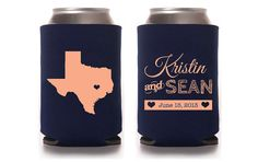 Custom Wedding Koozie - Any State with Heart