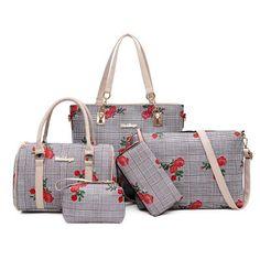Women's Floral Print 5 Piece Shoulder Messenger Bag Sets Lightin The Box, Louis Vuitton Damier, Messenger Bag, Floral Prints, Shoulder Bag, Pattern, Pink, Bags, Material