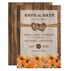 #monogrammed - #Monogram Wood Hearts with Orange Daisy and Roses Card