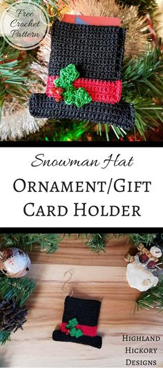 Crochet Gift Design snowman hat ornament - Crochet the ornament in the series -- the Snowman Hat Ornament/Gift Card Holder. This free pattern uses size 10 thread and makes a great holiday gift! Crochet Christmas Ornaments, Christmas Crochet Patterns, Holiday Crochet, Christmas Knitting, Crochet Gifts, Free Crochet, Christmas Diy, Crochet Ideas, Crochet Designs