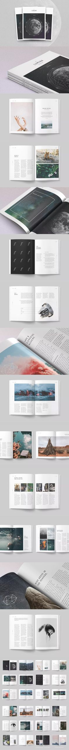 LUMINA Magazine Template InDesign INDD A4 and US Letter Size