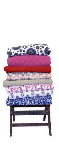 In my dreams, the linen clost is filled with colorful, patterned, cozy blankets, like these, modeled after moving blankets, from Utility Canvas.