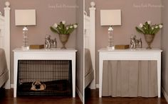 DIY Dog crate DIY Dog Crate Table with skirt and crate Home Dog Crate Table, Diy Dog Crate, Dog Crate Cover, Dog Crate Furniture, End Table Dog Bed, Crate Bench, Bed Table, Diy Dog Kennel, Diy Dog Bed
