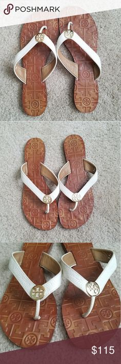 EUC Tory Burch Thora Flip Flops Excellent used condition classic Tory Burch Sandals. Plenty of life left. Perfect for any occasion/outfit and especially for summer. Please see pics for condition  Any questions please ask!  Open to reasonable offers, but no trades. Tory Burch Shoes Sandals
