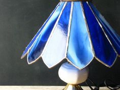 Antique Blue Stained Glass Lamp with by BlackberryMemories on Etsy, $50.00