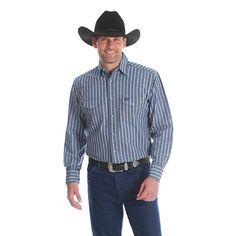 4fe18d4ccd Men s Cowboy Cut Work Western Stripe Denim Shirt