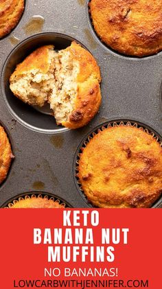 No bananas in this keto banana bread muffin recipe. These are soft and fluffy muffins with almond flour and walnuts.a perfect breakfast treat. Source by Jenniferbanz Jeans Keto Bread Coconut Flour, Keto Banana Bread, Best Keto Bread, Banana Bread Muffins, Low Carb Bread, Almond Flour, Almond Meal, Egg Muffins, Coconut Oil