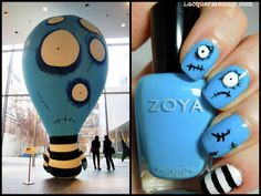 This is a mani I did based on a giant blow up creature I loved during my visit to the Tim Burton exhibit at the MoMa a few years back.     Colors used:   Zoya - Robyn (blue)  Zoya - Snow White (white)  Finger Paints - Black Expressionism (black)    Tools: dotting tools, nail art brush, tape.