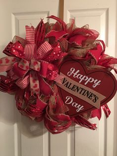 Happy Valentines Day deco mesh wreath with Terri bow and ribbon