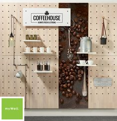 Display and storage peg wall system. The myWall panel system is great for office, retail or exhibits. The panels come with multiple accessories and can be configured in many shapes and sizes. Commercial Interior Design, Commercial Interiors, Retail Wall Displays, Open Space Office, Office Spaces, Peg Wall, Wall Art, Pegboard Display, Interactive Walls