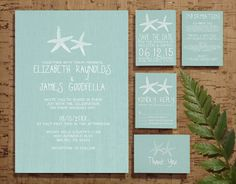 Pair of Starfish Wedding Invitation Set/Suite, Invites, Save the date, RSVP, Thank You Cards, Response Cards, Printable/Digital/PDF/Printed