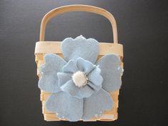 Flower Girl Basket Wedding Blue by ArtisanFeltStudio on Etsy, $35.00
