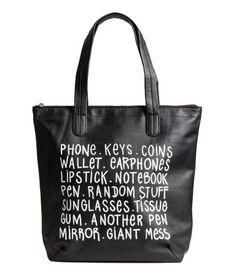 Shopper | Black/text | Ladies | H&M US