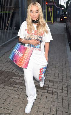 Back to work she goes: Rita Ora was spotted leaving a recording studio in London on Wednesday